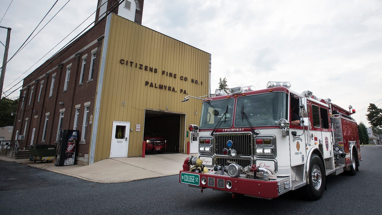 Palmyra firefighters said good-bye to the old Citizens Fire Co. firehouse and moved the last of the equipment Monday evening, Aug. 14, 2017.