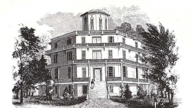 An illustration of Orson Squire Fowler's house, which stood on what is now Route 9 in the Town of Wappinger.