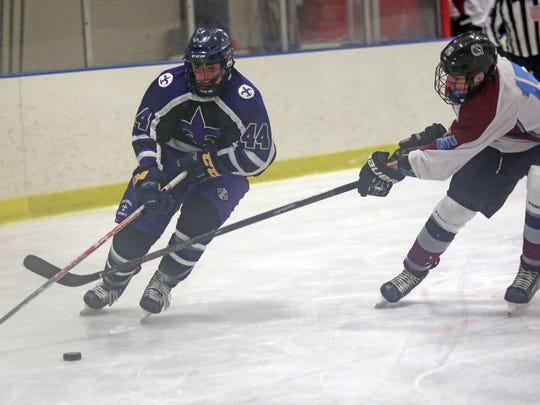 Chris Megdanis (15) of Rye Town/Harrison tries to steal the puck from New Rochelle's Brandon Cimino (44) during ice hockey at Rye Country Day School on Jan. 25, 2017.