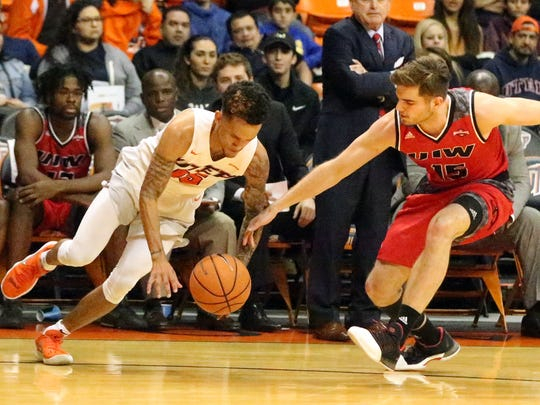 UTEP guard Kobe Magee tried to keep control of the ball against Sam Burmeister, 15, of incarnate Word Tuesday night.