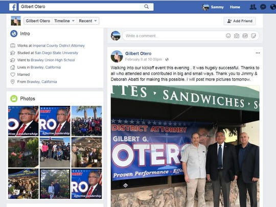 "This photo was posted by the official Facebook profile for Imperial County district attorney Gilbert Otero's re-election campaign on Feb. 8, 2018, with the caption, ""Walking into our kickoff event this evening. It was hugely successful. Thanks to all who attended and contributed in big and small ways. Thank you to Jimmy & Deborah Abatti for making this possible. I will post more pictures tomorrow."""