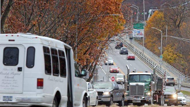 Cars travel along Church Street in Poughkeepsie on Nov. 21, 2016.