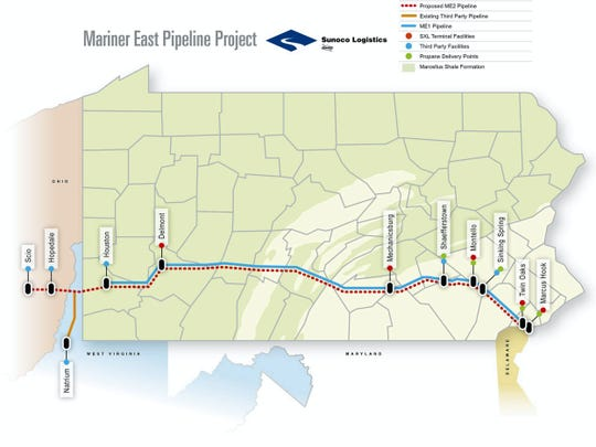 The Mariner East pipeline project routes ethane and