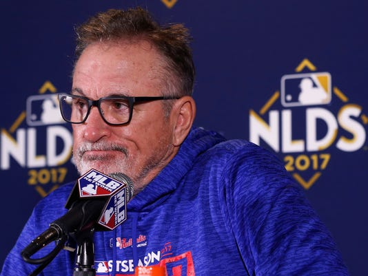 Chicago Cubs manager Joe Maddon talks during a news conference after Game 4 of baseball's National League Division Series against the Washington Nationals, Wednesday, Oct. 11, 2017, in Chicago. The Nationals won 5-0. (AP Photo/Charles Rex Arbogast)