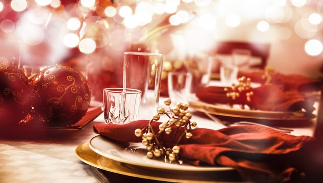 A table setting in preparation for a Holiday meal.
