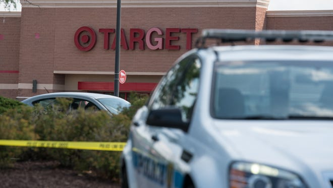 The Salisbury Police Department cordon the parking lot surrounding Target on Thursday after a bomb threat was made.