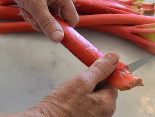 Trim off ends of rhubarb stalks before preparing further.