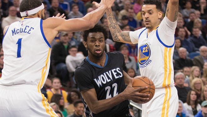 Andrew Wiggins scored a team-high 24 points for the T'wolves.