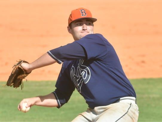 Beech pitcher Dalton Hall begins his pitch during the