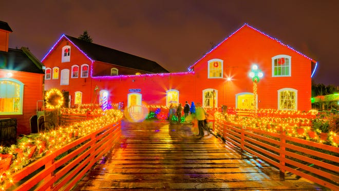 The holiday light display is seen at Magic at the Mill at the Willamette Heritage Center in Salem.