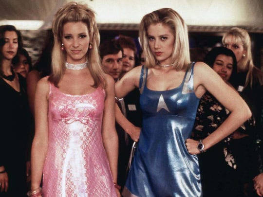 """Lisa Kudrow, left, as Romy and Mira Sorvino Michele in the 1997 film """"Romy and Michele's High School Reunion."""""""