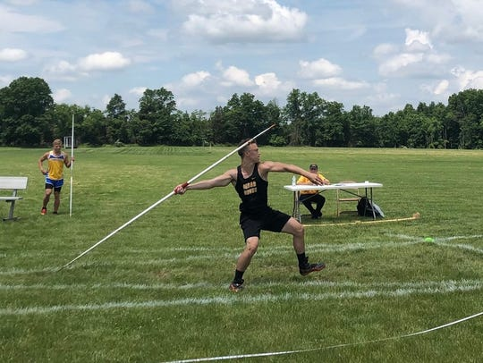 Cedar Grove's Sawyer Moe won the Group 1 title in javelin