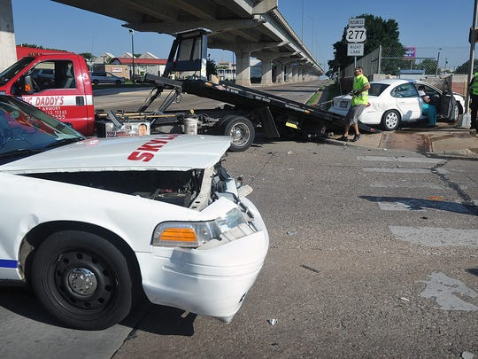 A Skylark Taxi cab and a Ford Taurus collided at the intersection of 14th Street and Broad Tuesday morning about 8:30. The driver of the Taurus received minor injuries.