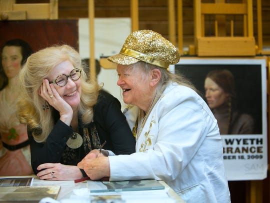 Joyce Hill Stoner and Helga Testorf chat with each