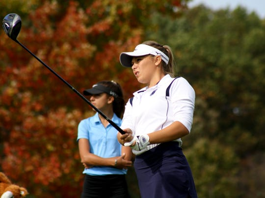 DeWitt's Elaina DeRose tees off at the 16th hole at Bedford Valley in the Div. 2 state finals.