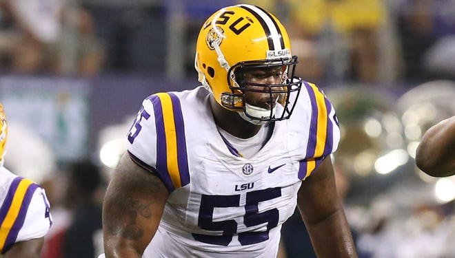 LSU Tigers center Elliott Porter (55) in action against the Texas Christian Horned Frogs at AT&T Stadium.