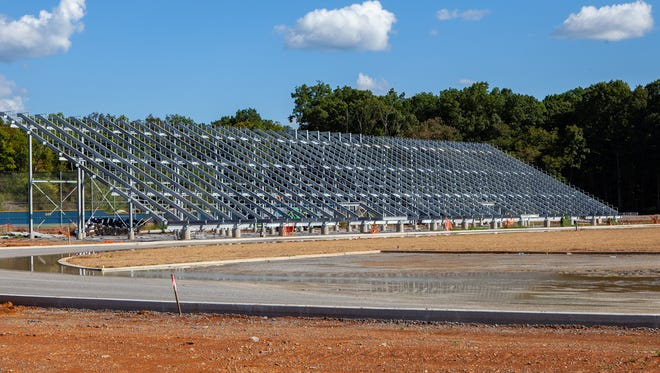 Athletic bleachers have been installed at Rockvale High School, under construction southwest of Murfreesboro.