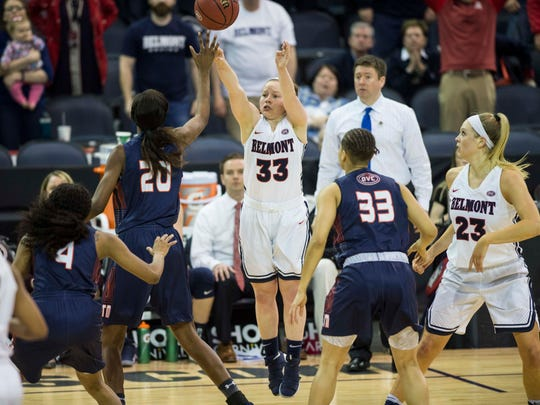 Belmont's Darby Maggard (33) takes a game-tying three pointer over UT Martin's Chelsey Perry (20) during the Ohio Valley Conference Tournament Championship on Saturday, March 3, 2018. Belmont defeated University of Tennessee at Martin 63-56 in overtime.