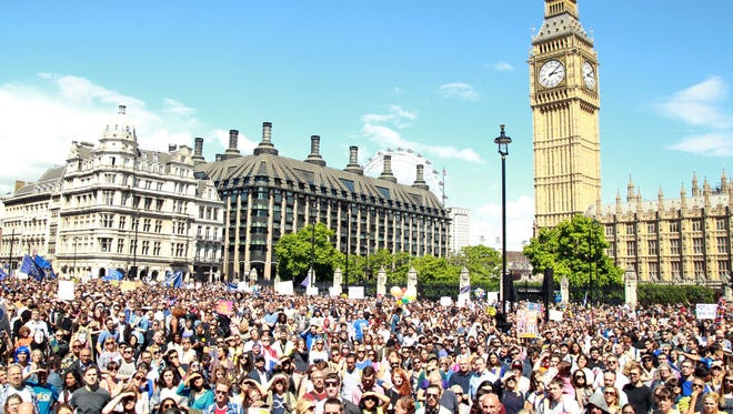 Thousands of people wishing Britain to remain a member of the EU join the March for Europe rally in London on July 2, 2016.