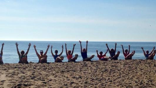 Fitness on the beach while having fun is what the hipAHA camp is all about.