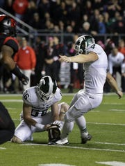 Michigan State kicker Michael Geiger is 5 for 9 on field goal attempts this season. Geiger had one blocked against Rutgers and made one that bounced off the uprights.