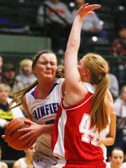 Fairfield's Molly Klinker looks to score against Three Forks in the 2011 State B tournament.