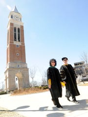 Ora Hirsch Pescovitz, left, and Oakland University Senior VP for Academic Affairs and Provost James Lentini.