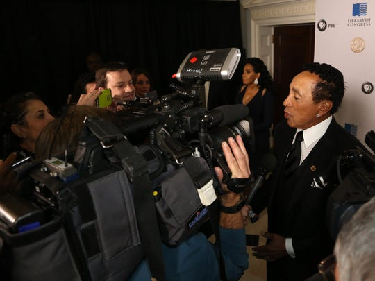 """Smokey Robinson talks to the media on the red carpet inside the Daughters of the American Revolution Constitution Hall in Washington D.C. on Wednesday, November 16, 2016.Robinson is being honored here with the """"Gershwin Prize for Popular Song.""""Eric Seals/Detroit Free Press"""