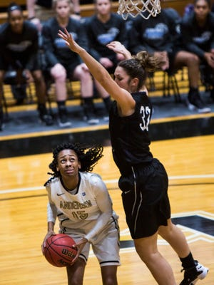 Anderson University's Jasmine Franklin fouled out Wednesday night at Carson-Newman, scoring 12.