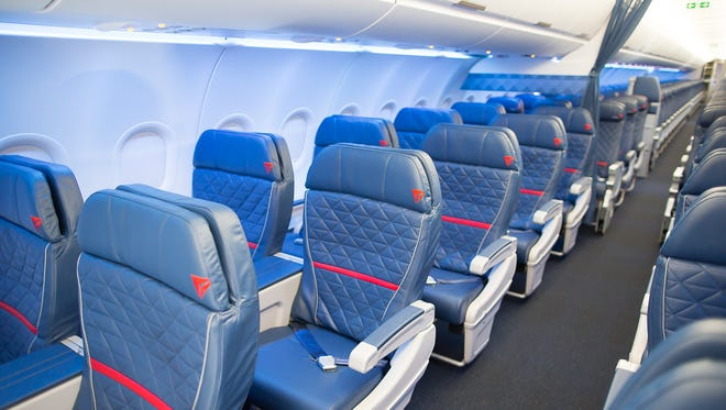 The first class cabin, on board Delta Air Lines' new Airbus A321, is seen during the company's media day at Atlanta's airport on April 29, 2016.