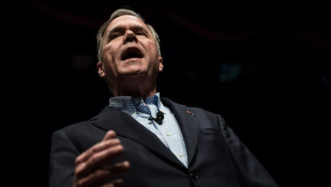 Then-Republican presidential candidate Jeb Bush addresses the crowd at a campaign rally February 19, 2016 in Greenville, South Carolina.