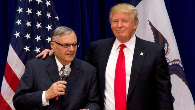 President Trump and Joe Arpaio in Marshalltown, Iowa on Jan. 26, 2016.