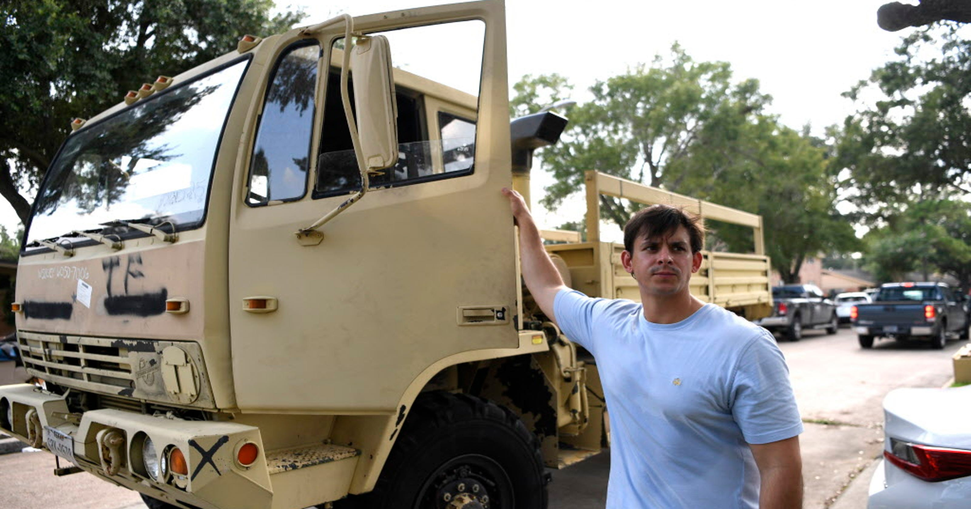 Harvey volunteer rescues survivors with military truck