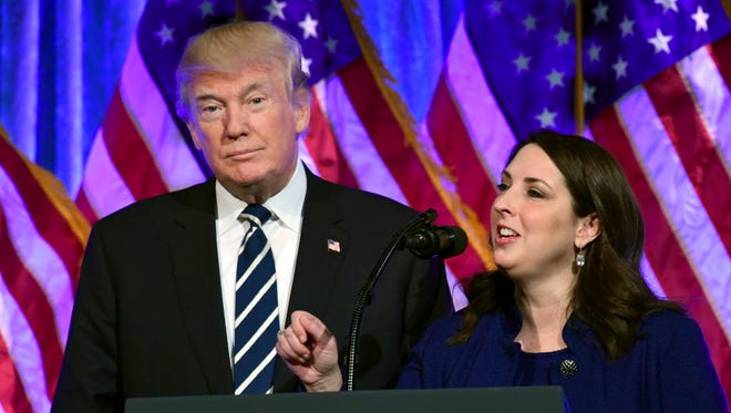 President Trump and RNC Chairwoman Ronna McDaniel in New York on Dec. 2, 2017.