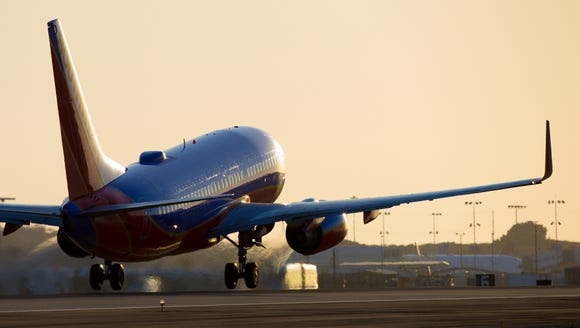 A Southwest Airlines Boeing 737 takes off from Los