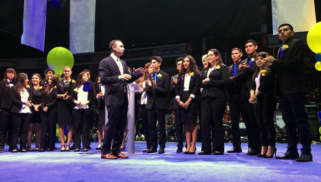 IDEA founder and CEO Tom Torkelson speaks in 2016 at the charter school's annual College Signing Day at State Farm Arena in Hidalgo, Texas.