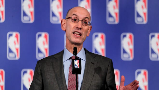 NBA Commissioner Adam Silver speaks during a news conference, Thursday, Sept. 28, 2017 in New York.