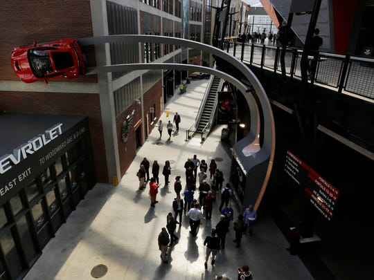 A view of the concourse at the North east exit at Little Caesars Arena in Detroit on Wednesday, Sept. 6, 2017.
