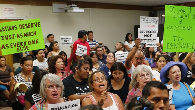 Protesters filled the East Ramapo School District Board of Education meeting at the East Ramapo School District offices in Spring Valley on  Sept. 2, 2014.  The rally is in protest to remarks made by Superintendent Joel Klein made at a meeting in August.