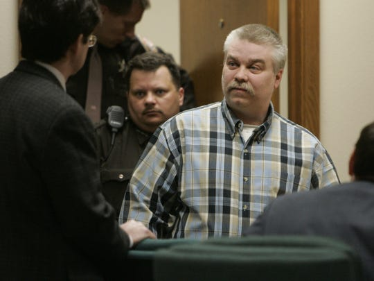 Steven Avery enters a courtroom in the Calumet County Courthouse on March 18, 2007 in Chilton. Avery was found guilty of first-degree intentional homicide in the murder of photographer Teresa Halbach, 25, on Oct. 31, 2005 near the family's auto salvage lot in rural Manitowoc County.