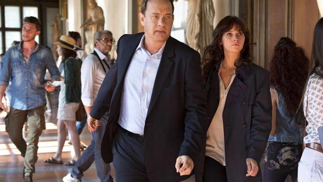"""Tom Hanks (left) and Felicity Jones in """"Inferno."""""""