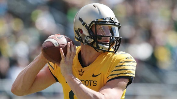 Apr 30, 2016; Eugene, OR, USA; Oregon Ducks quarterback (9) Dakota Prukop sets to throw a pass before the game at Autzen Stadium. Mandatory Credit: Scott Olmos-USA TODAY Sports