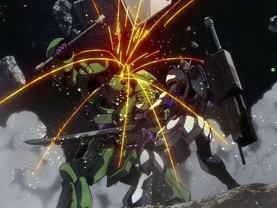 Double Gundams all the way. The sparks fly as the Gundam Gusion and Barbatos meet on the field.