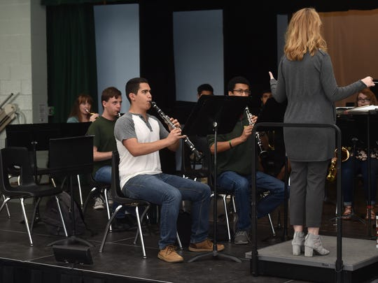 Carlos Galindo plays a clarinet during his International Baccalaureate music class at Royal High School on Thursday. Though he took no advanced placement classes last year, this year he has four.