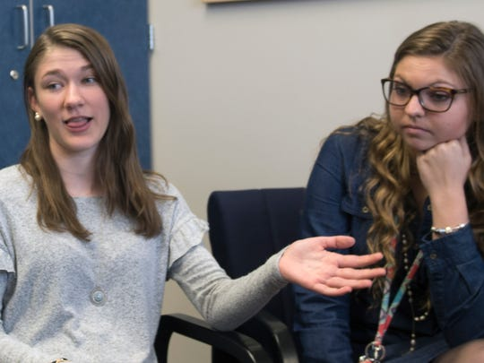 Lindsey Frey, left, and Megan Painter are WASHS seniors. Waynesboro Area Senior High School students shared their opinions Thursday, April 5, 2018 on recent security concerns and gun issues.