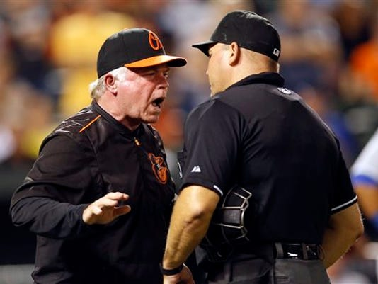 Baltimore manager Buck Showalter, left, argues with home plate umpire Mark Carlson after being ejected during the eighth inning against the Kansas City Royals on Friday in Baltimore. The Orioles won 14-8.
