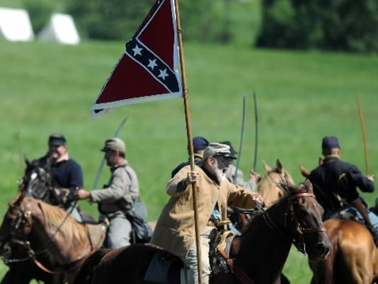 Action from the Hanover cavalry battle during the Blue Gray Alliance reenactment in Gettysburg, Pa. on June 29, 2013