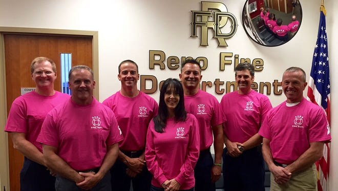 The Reno Fire Department and Reno Police Department are selling custom pink shirts in support of Breast Cancer Awareness Month.