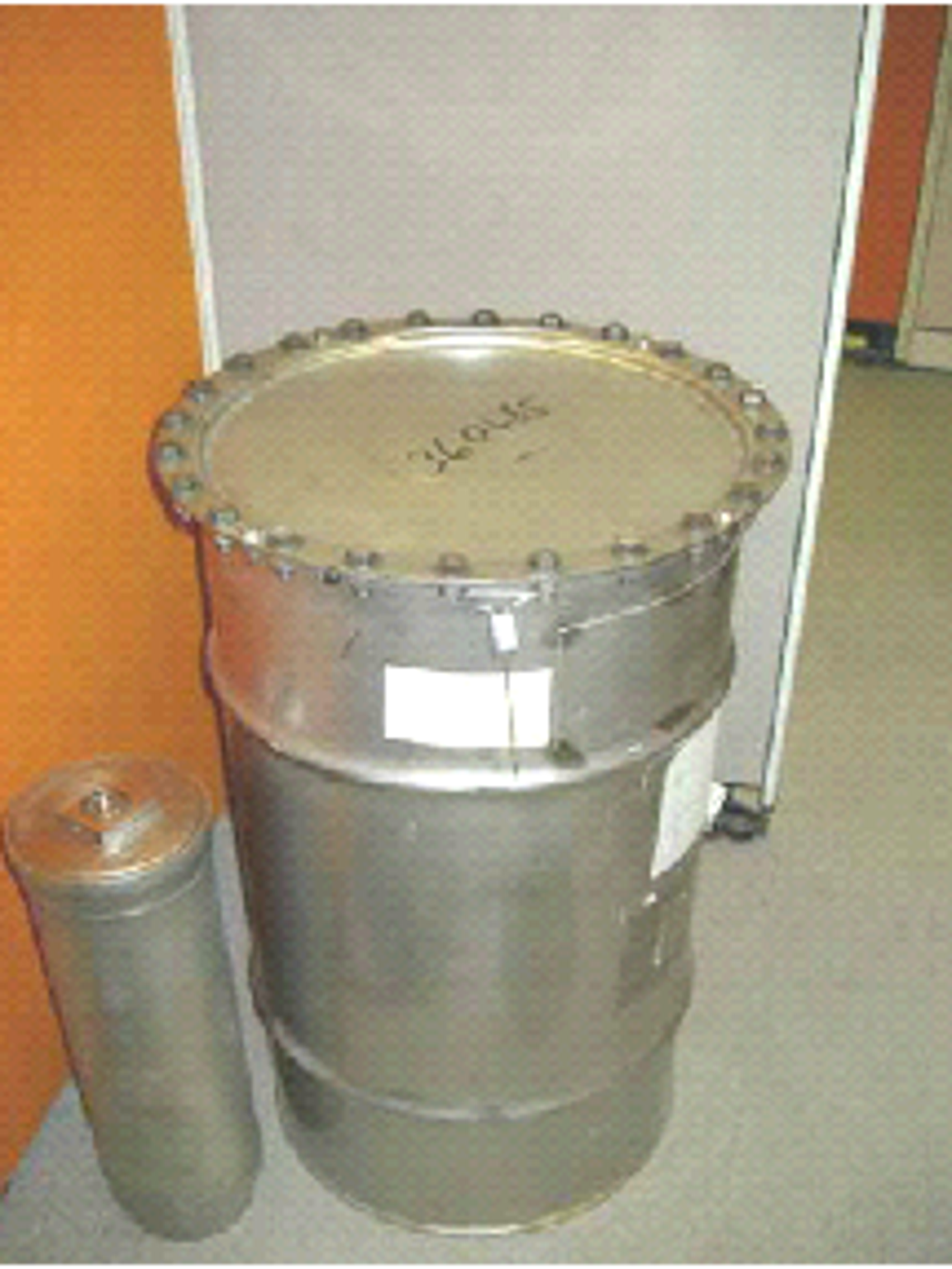 Containers used to ship and store plutonium like this