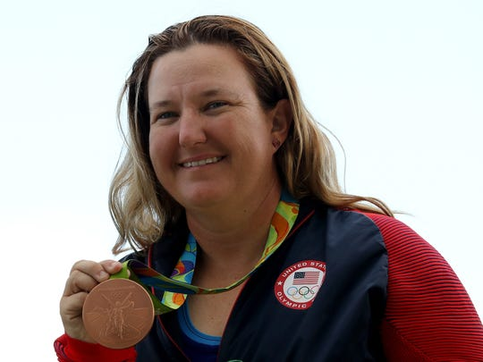 Kim Rhode of the United States smiles during the medal